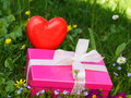 Mothers day gift box picture of yellow Royalty Free Stock Photo