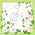 Mothers Day. A girl with a baby in her arms. Young and beautiful woman. Happy motherhood. Frame in the form of heart and flowers.