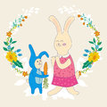 Mothers day greeting card.Baby rabbit gives mom carrots,Wreath of flowers.Cute hand drawn animal characters for kids