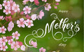Mothers Day greeting card. Blossom tree background, spring holidays.