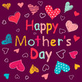 Mothers day happy colorful drawing hearts Royalty Free Stock Photos