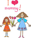 Mothers day kids drawing mother daughter flowers Stock Images