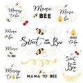 Mothers day logos, icons, labels, tags. Hand drawn set with bee sweet honey badges Mama bee Royalty Free Stock Photo