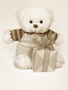 Mothers day picture of a teddy bear stock photo beautiful retro card with old toy teddybear with gift box Royalty Free Stock Image