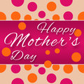 Mothers day purple pink horizontal happy text on and polka dots background Stock Photography