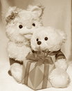 Mothers day retro card teddy bears stock photo mother and son with gift box Stock Photos