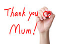 Mothers day thank you greeting with red marker in hand isolated on white background Stock Photography