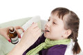 Mothre giving spoon dose of medicine to child hand liquid drinking syrup over white Stock Photos