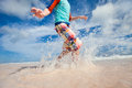 Motion blur of boy running fast Royalty Free Stock Photo