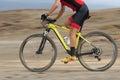 Motion blur of a mountain bike race