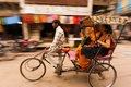 Motion Blur Pan Cycle Rickshaw Passengers India Stock Images