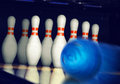 Motion blurred bowling ball on alley Royalty Free Stock Image