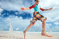 Motion blurred boy running fast Royalty Free Stock Photo