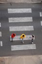 Motion blurred overhead view group crossing street pedestrian crossing people motion blurred Stock Photo