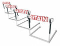 Motivate Reward Satisfy Retain Customers Employees Hurdles Royalty Free Stock Photo