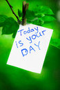 Motivating phrase today is your day. On a green background on a branch is a white paper with a motivating phrase.