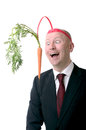 Motivation carrot self of dangling a on a stick isolated on white Royalty Free Stock Images