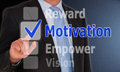 Motivation concept businessman in suit and tie checking option on touchscreen with reward empower and vision as other check box Stock Photos