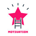 Motivation concept career ladder star icon business strategy development design and management leadership idea