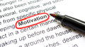 Motivation concept explanation with heading circled in red Stock Image