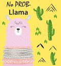 Motivation lettering with No drama llama. Chilling funny doodle alpaca or peru symbol lama