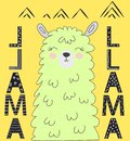Motivation lettering with No drama llama. Chilling funny doodle alpaca or peru symbol lama Royalty Free Stock Photo