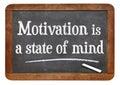 Motivation is a state of mind motivational phrase on vintage slate blackboard Stock Images