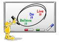 Motivational concept believe do live it handwriting on whiteboard with colors markers Stock Photos