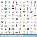 100 motivational icons set, cartoon style