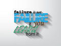 Motivational poster failure is not failure if you learn from it typography background Stock Image