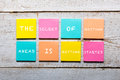 Motivational quote on colorful sticky notes