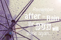 Motivational quote remember after the rain the sun will shine again poster Royalty Free Stock Photos
