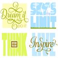 Motivational sayings phrases to inspire and encourage success including dream it do it sky s the limit think outside the box and Stock Image