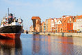 Motlawa quay and old gdansk at day poland Stock Image