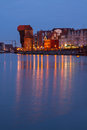 Motlawa river and old gdansk at night poland Stock Image