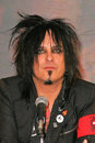 Motley crue nikki sixx at the announcement that all the original members of reunite for the red white tour better live than Stock Photo