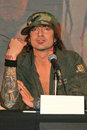 Motley crue tommy lee at the announcement that all the original members of reunite for the red white tour better live than Royalty Free Stock Image