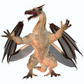 Motley dragon a creature of myth and fantasy the is a fierce flying monster with horns and large teeth Royalty Free Stock Images