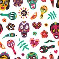 Motley seamless pattern with Mexican sugar skulls, Catrina`s face, flowers, maracas on white background. Day of The Dead