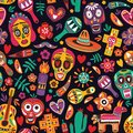 Motley seamless pattern with traditional Mexican Dia de los Muertos decorations on black background. Holiday backdrop