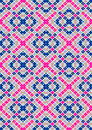 Motley vertical blue and purple squares on a light background checkered seamless with flowers in black square Royalty Free Stock Images
