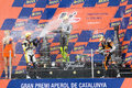 Moto podium thomas luthi nd andrea iannone st and marc marquez rd l r in the after the race of grand prix of catalunya on june in Stock Images