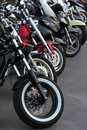 Motobikes in a row Stock Photo