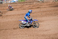 Motocross competition riders on a race track in apex moto parc uk Stock Images