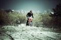 Motocross dirt bike on sand riding Royalty Free Stock Images