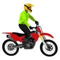 Motorcycle enduro traveler standing on high mountain road fish-eye view