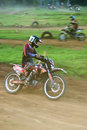 Motocross racer a motor cross in a local competition in subang west java indonesia august Stock Photography