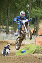 Motocross rider in the air Royalty Free Stock Photography