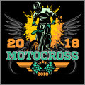 Motocross rider badge logo emblem vector illustration Royalty Free Stock Photo