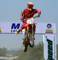 Motocross rider C.S.Santosh jumping a tabletop Stock Photography
